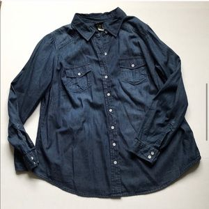 Dark Denim Button-down Shirt